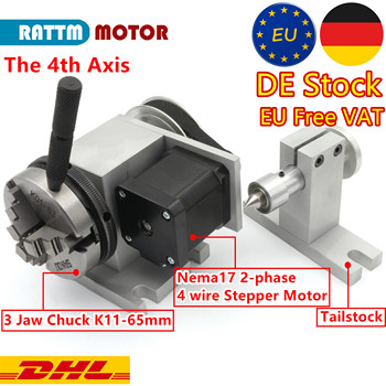 EU Ship! (3-Jaw Chuck K11-65mm) 4th axis (A Axis, Rotary axis) with Tailstock for Mini CNC router woodworking engraving machine cnc tailstock with chuck for rotary axis cnc milling machine tailstock center height 65mm