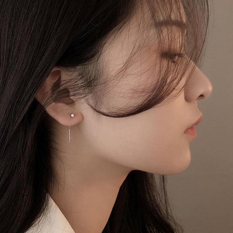 Korean Dangle Earring Geometric block Long Tassel Bar Drop Earrings For Women Minimalism Ear Line Kpop Jewelry Gift