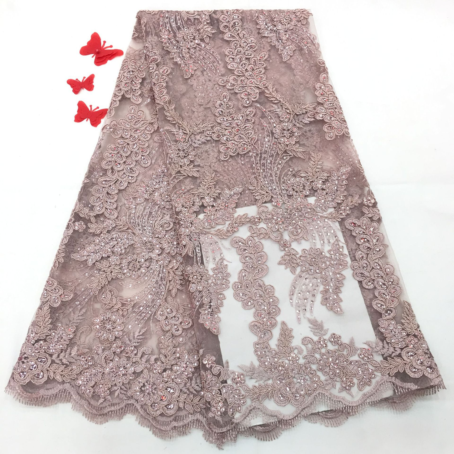 New Arrival African Dry Sequin Lace Fabric French Swiss Voile Lace Fabric With Tassel Nigerian Embroidered Bridal Laces Fabric