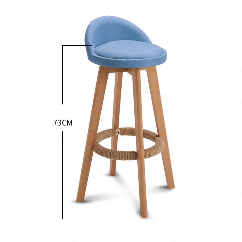 Bar Stool Nordic Modern Minimalist Home Solid Wood High Stool Bar Stool Bar Chair Leisure Back Chair Stool 63/73cm Seat Height