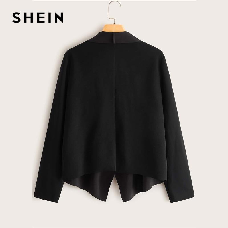 SHEIN Black Solid Waterfall Collar Open Front Jacket Coat Women Spring Long Sleeve Asymmetrical Hem Office Ladies Casual Coats 2