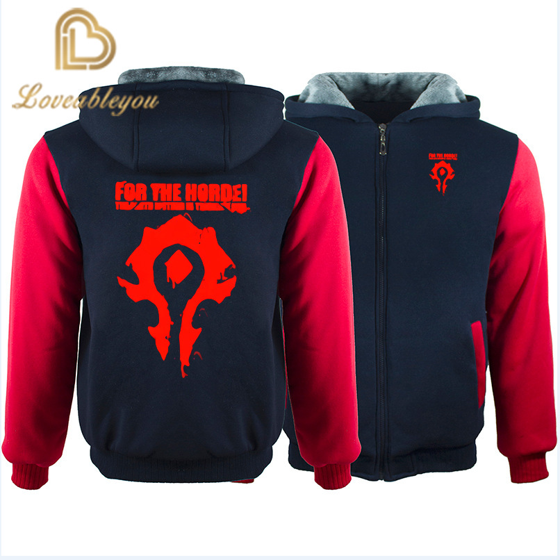 WOW World Of Warcraft Hoodies Men Zipper Streetwear Hip Hop Warm Sweatshirts Casual Hoodie Hooded For Kids