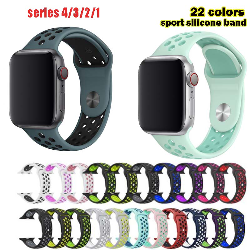 Silicone Wristband For Apple Watch Band Series 1/2/3/4/5 For Iwatch Sports Strap Bracelet 38/40/42/44mm