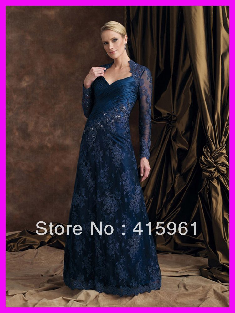 Navy Long Sleeves Lace Custom Made Vestido De Madrina Longo 2019 Long Mother Of The Bride Dresses With Jacket For Weddings