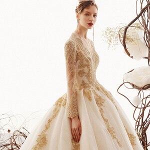 Image 5 - 2020 Custom Made Princess Wedding Dresses Vestido De Casamento Gold Appliques Beading Long Sleeve Bridal Gowns Bruidsjurken