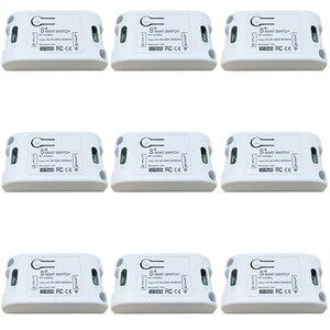 Tuya Smart Life APP WiFi + RF 433 МГц DIY релейный модуль таймера Google Home Amazon Alexa 10A для переключателя, светильник, вентилятор, 9 шт.