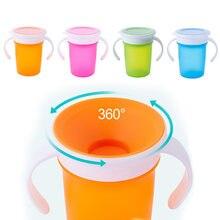 360 graus giraram o copo bebendo da aprendizagem do bebê com tampa dupla da aleta do punho copos de água leakproof dos bebês garrafa bpa livre com tampa