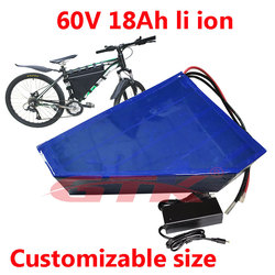 GTK triangle 60v lithium battery 18Ah li ion rechargeable with 16S BMS for 20ah Mountain electric bicycle,snowbike+5A charger
