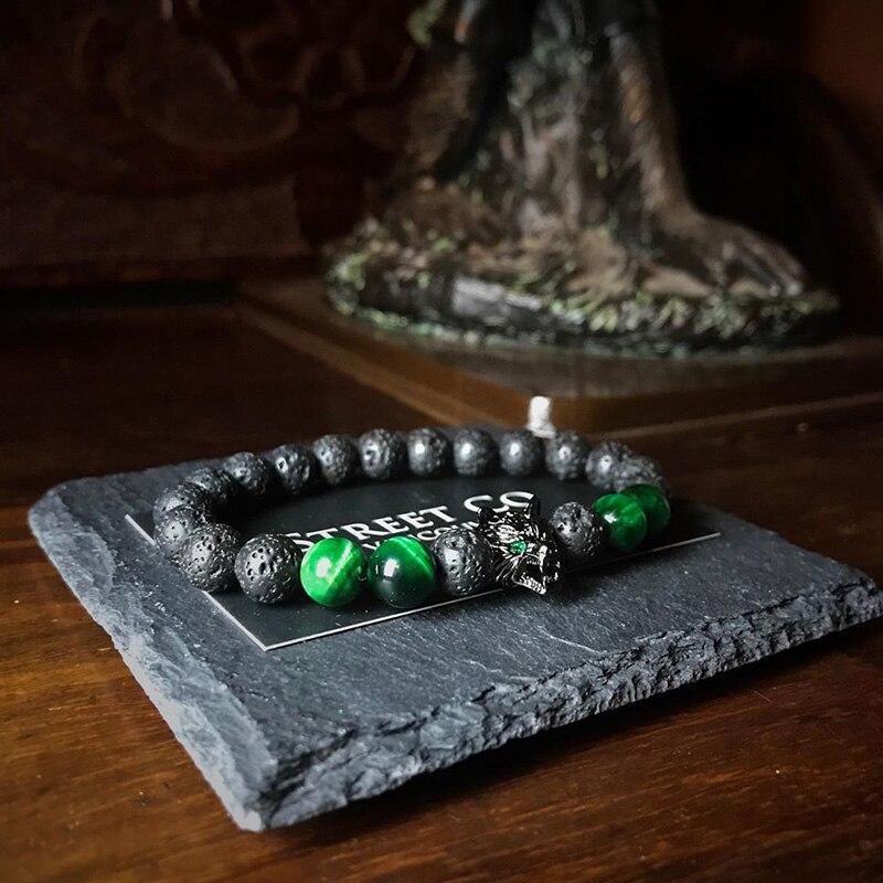 Мужские ювелирные изделия Волк браслет браслеты из нержавеющей стали для мужчин зеленый тигр браслет с камнями вулканического камня дружб...