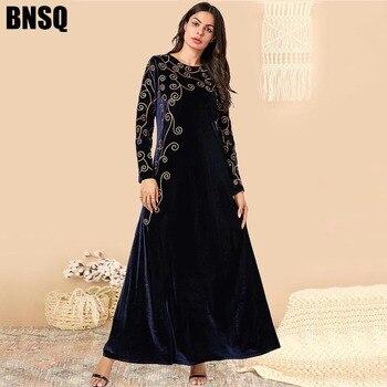 BNSQ Arabian gold velvet embroidered abaya Indian Clothes for Women Punjabi  Kurta Party Maxi Long Sleeve Pakistani Dresses Caftan Marocain Turkey Kaftan Pakistani Dress
