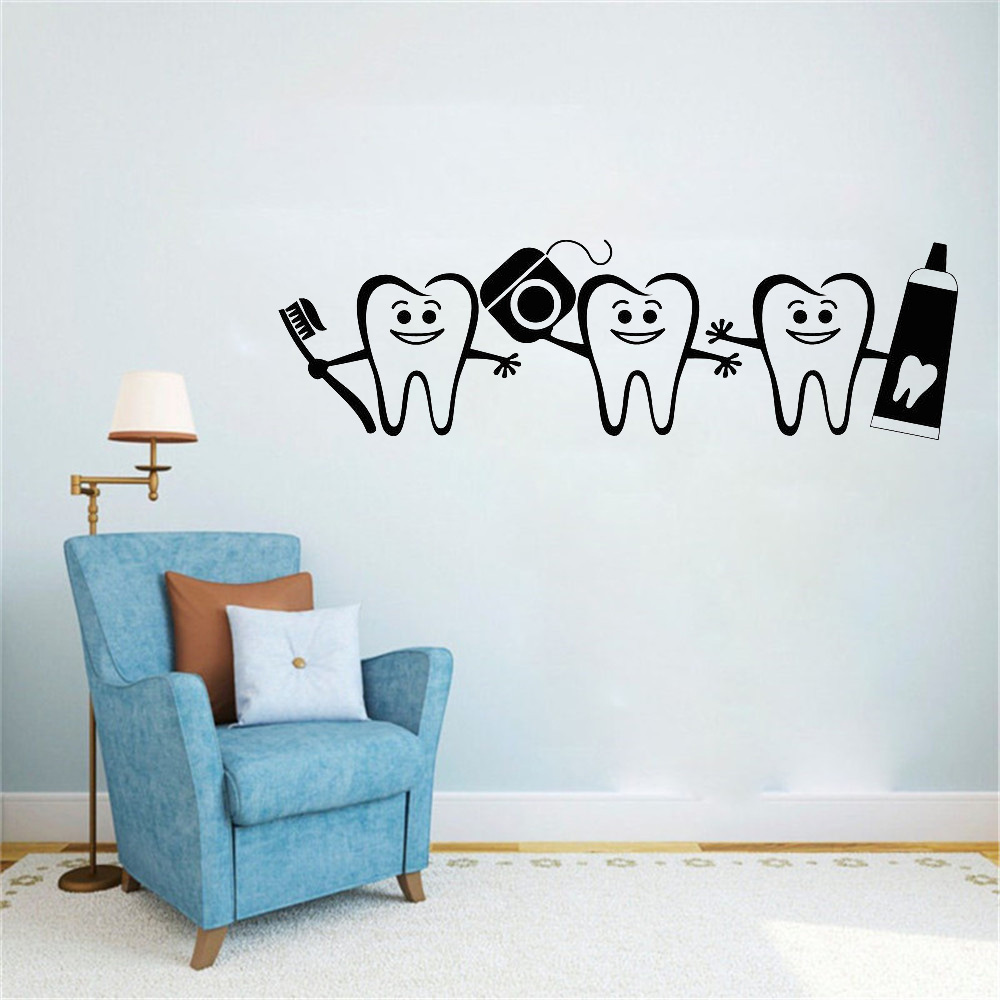 Dental Care Hot Sale Wall Sticker Vinyl Dentist Sign Door Window Decals Home Bathroom Decor Art Mural Poster Tooth Decal LW752(China)