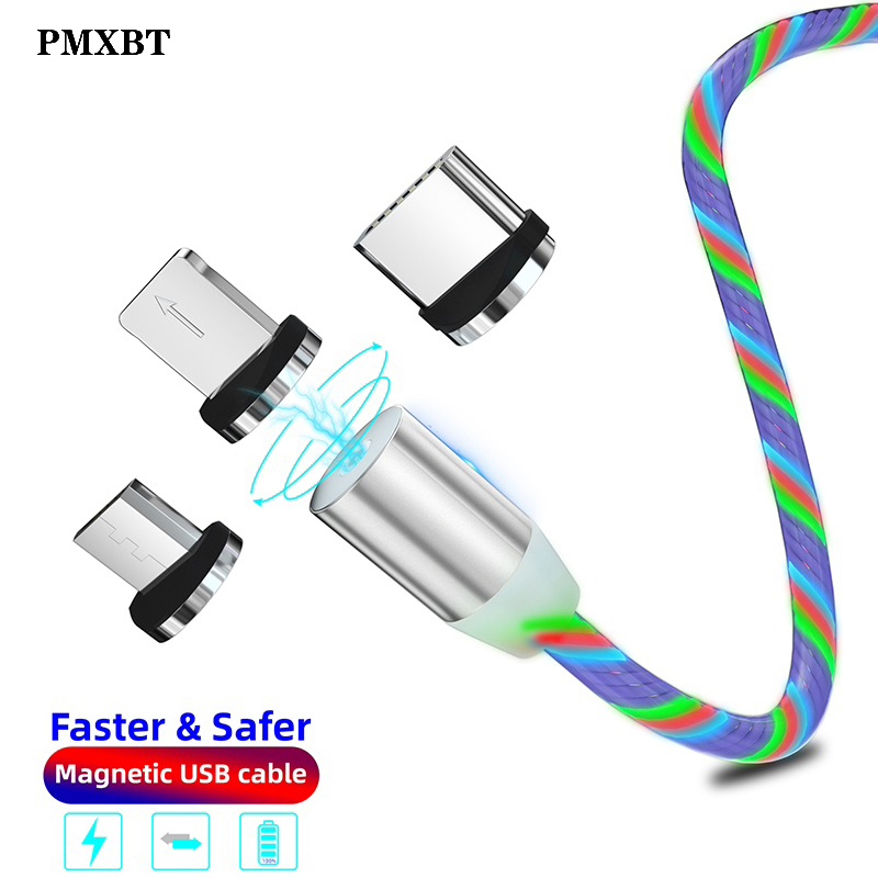1m LED lighting 3A Magnetic USB C Cables For iphone XS 3 0 Type C Quick Charge Fast Type C For Samsung Xiaomi Huawei Data Cable in Mobile Phone Cables from Cellphones Telecommunications