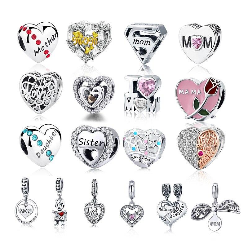 CodeMonkey 100% Real 925 Sterling Silver Mom Daughter Bead Fit Original Design Bracelets Pendant Hot Sale DIY Jewelry Making