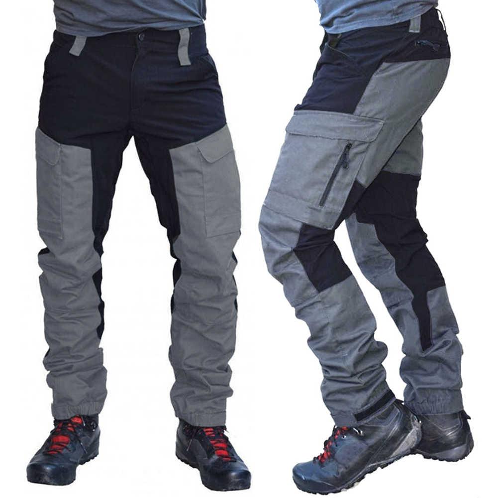 Pantalones Largos Tipo Cargo Deportivos Con Multiples Bolsillos Para Hombre Pantalones De Trabajo Informales Con Bloque De Color A La Moda Pantalones Vaqueros Aliexpress