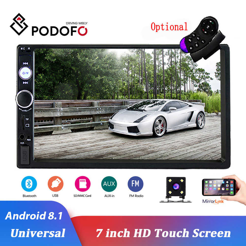 Podofo Double Din Car Stereo Car Radio with buletooth 7 HD Touchscreen Car Multimedia Player Support FM//USB//AUX//D-Play iOS//Android Mirror Link with Rear View Camera