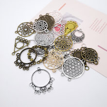 Vintage Metal Mix 10pcs Round Dreamcatcher Charms Hollow Pendant DIY Sweater Neacklace Handmade Jewelry Making Accessories(China)