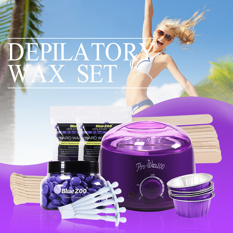 Professional 7 Piece Set Paper-free Hair Removal Wax Beans Melting Machine Wiping Wax Stick Aluminum Foil Bowl