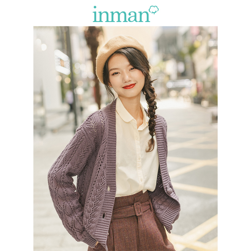 INMAN 2019 Autumn New Arrival Young Literary Style Ribbing V-neck Solid Lace Jacquard All Matched Women Cardigan
