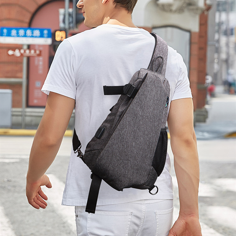 Men Chest Bag Male Single Shoulder Bag School Bags Fashion  Crossbody Bag Casual USB Charge Port Handbags Design Teenager FEGER