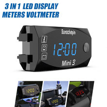 New 12V Motorcycle 3 In 1 Voltmeter LED Electronic Screen Displays Time/Temperature/Voltage Universal Motorcycle Parts