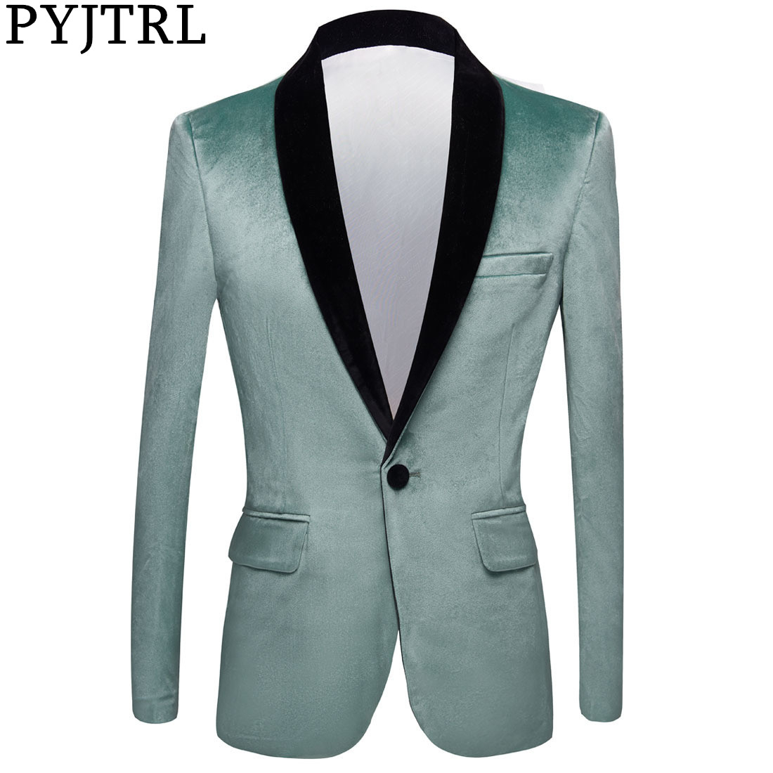 PYJTRL Men Fashion Autumn Turquoise Color Shawl Lapel Velvet Blazer Slim Fit Suit Jacket Wedding Groom Stage Singer Prom Costume