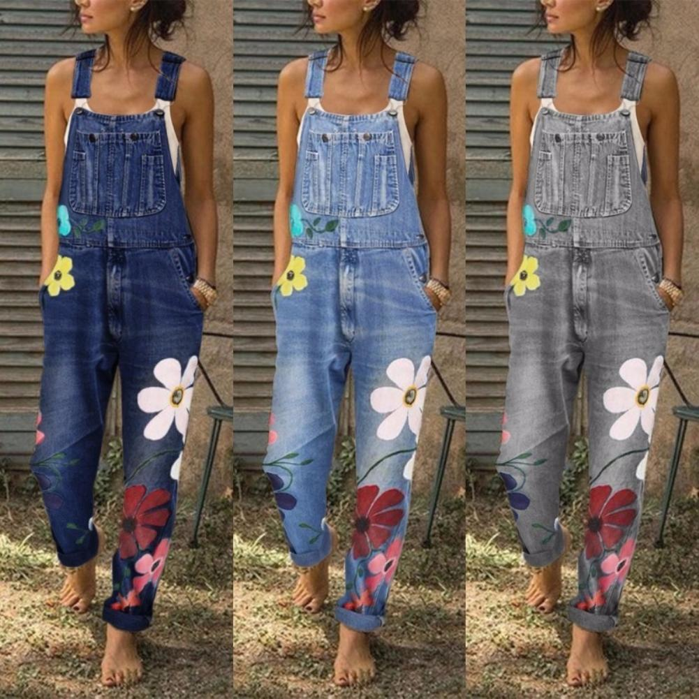 S-5XL Overalls For Women Fashion Floral Print Pockets Washable Denim Overall Jumpsuit Suspender Trousers Pants Casual Overall