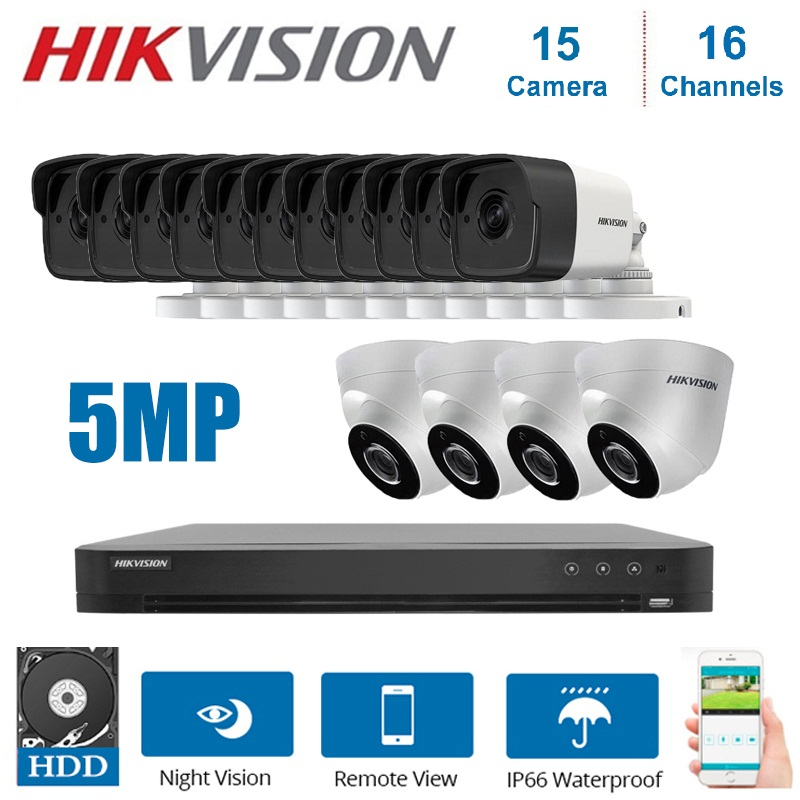 <font><b>Hikvision</b></font> <font><b>16CH</b></font> <font><b>DVR</b></font> video überwachung und Hybrid 15-stück 5MP 4 in 1 CVI/TVI/AHD/ CVBS Nacht vision security system Kit image