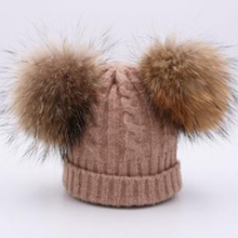 Real Fur Pompom Wool Winter Hat for Children Hat Knitted Striped Skullies Beanies Thick Warm Female Big faux Pompom Hat for Lady pompom