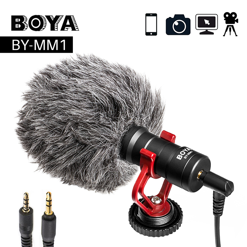 Boya BY-MM1 gravação de vídeo microfone para câmera dslr smartphone osmo bolso youtube vlogging mic para iphone android dslr cardan