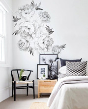 Peony Flowers Wall Sticker Black & White Watercolor Peony Wall Stickers Peel and Stick Removable Stickers Decor Room Decoration(China)