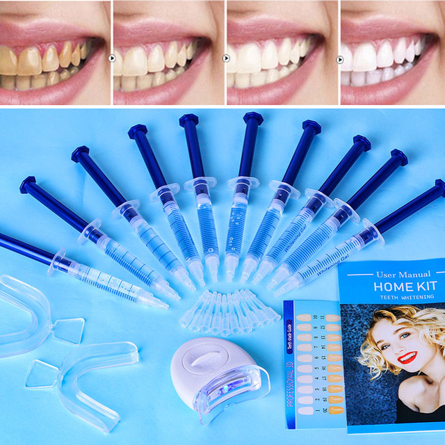 Top Quality Peroxide Teeth Whitening Kit Bleaching System Bright White Smile Teeth Whitening Gel Kit With LED Light Professional 3