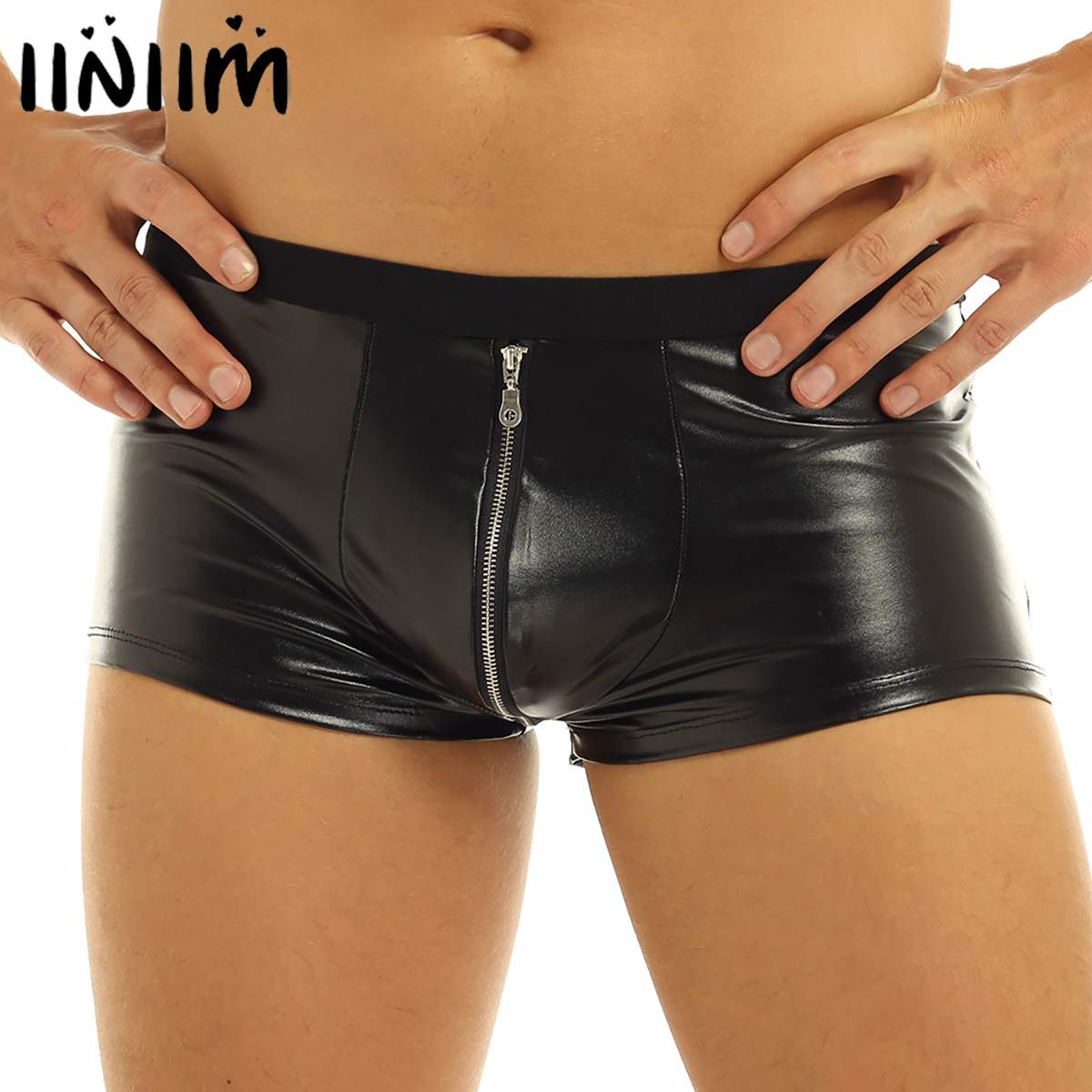Iiniim Mens Sexy Lingerie Panties Faux Leather Zipper Jockstraps Bulge Pouch Gay Sexy Clubwear Boxer Shorts Underwear Underpants