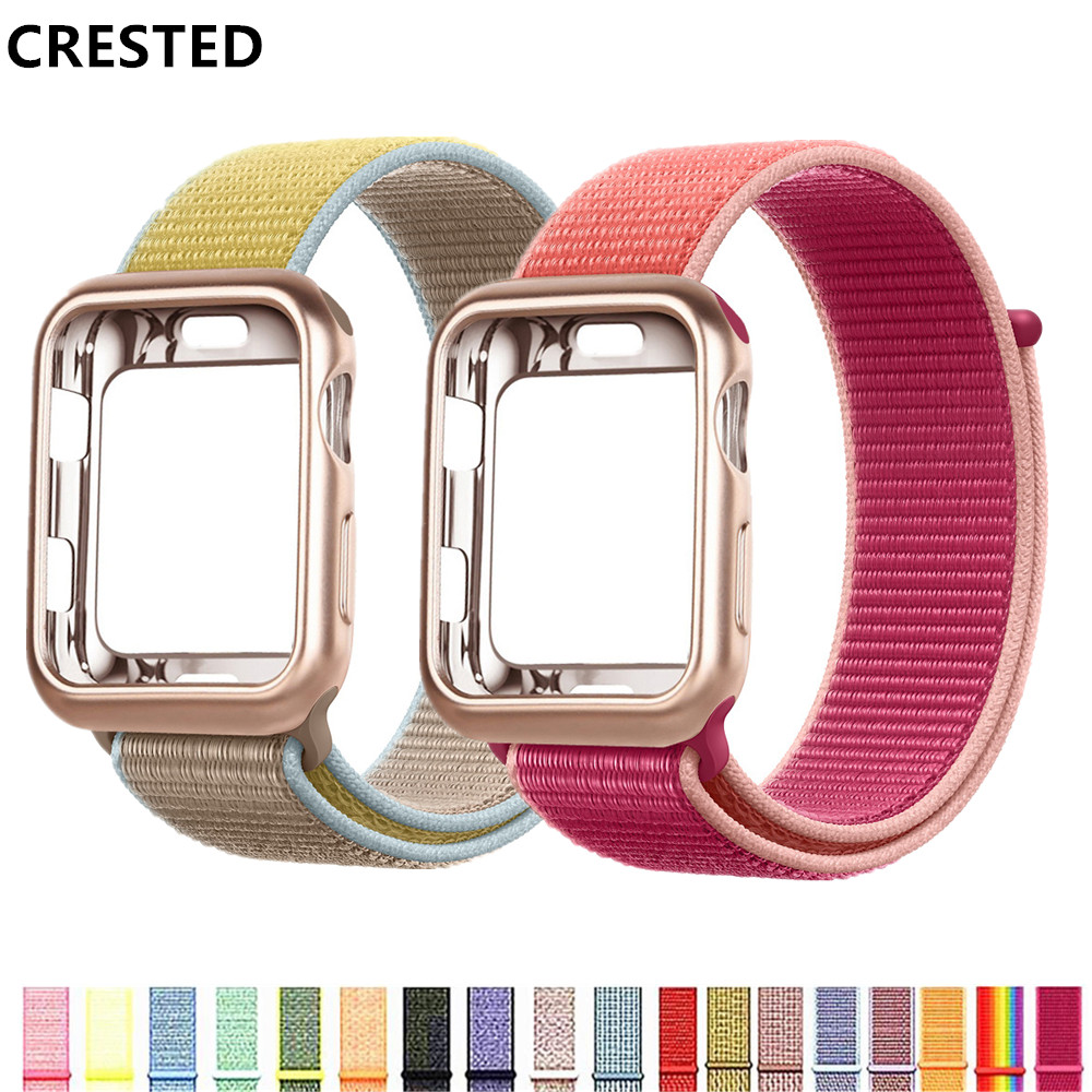 Case+strap For Apple Watch Band Apple Watch 5 4 3 Band Case 44mm/40mm Correa 38 Mm Iwatch Band 42mm Nylon Bracelet Watchband