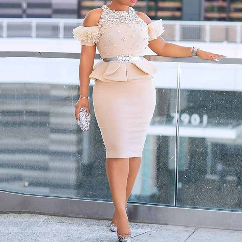 Бисероплетение бриллиантовое платье с открытыми плечами и оборками с баской Женская туника с высокой талией облегающее Вечернее Платье Falbala комплект из 2 предметов