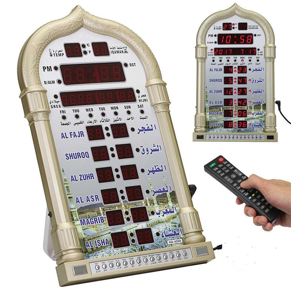 Relógio de Oração da Mesquita de Azan Relógio de Oração Islâmico com Melhores Iqamah Muçulmano Relógio Alharameen Presentes Islâmicos Atã