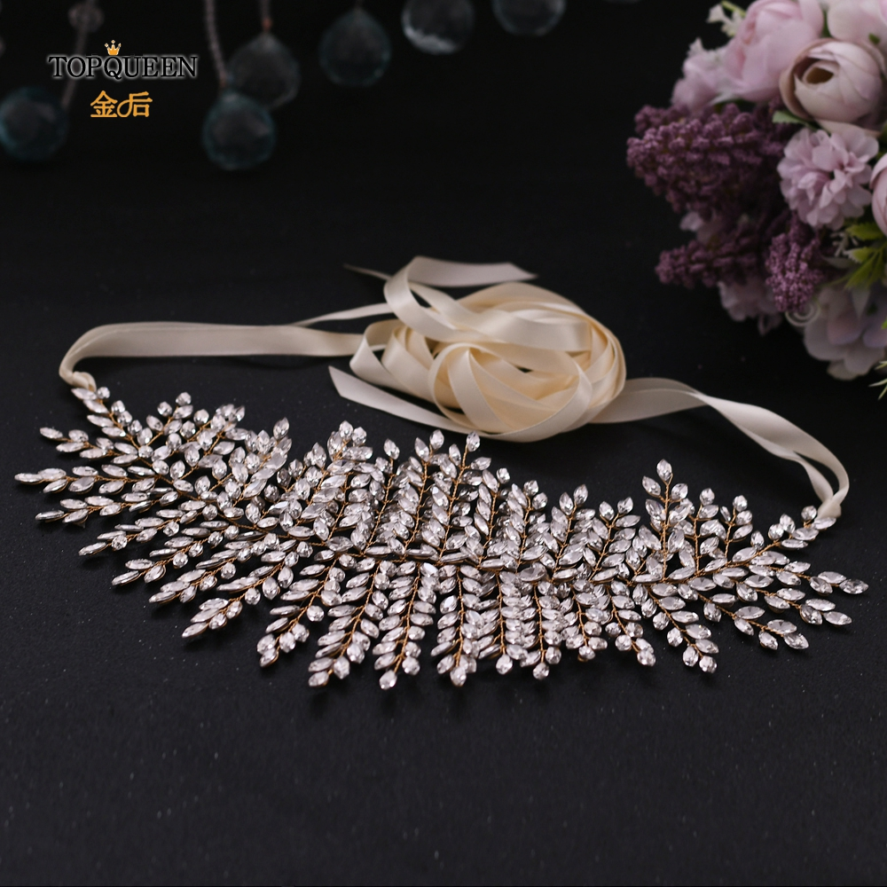 TOPQUEEN Golden Rhinestone Belt Jeweled Belt For Formal Dress Bridal Sash For Wedding Gown Shiny Belts For Women SH238-G
