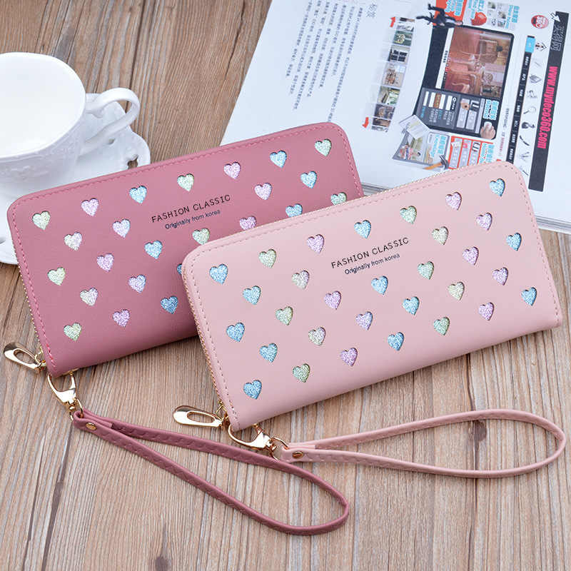 Moda das mulheres carteiras simples zíper bolsas titular de cartão seção longa embreagem amor coração padrão carteira couro do plutônio sacos de dinheiro