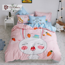 Liv-Esthete Hot Sale Fashion 100% Cotton Cartoon Bedding Set Decor Duvet Cover Pillowcase Flat Sheet Double Queen King Bed