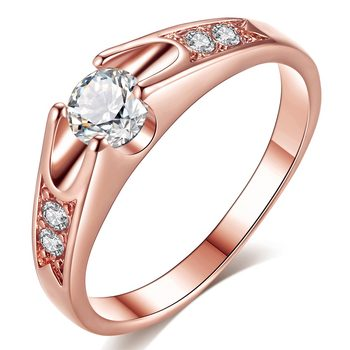 Rose Gold Color Assembly Anel Feminino Bijoux Aneis 0.5 Ct Engagement Ring Zirconia Jewelry Rings 12