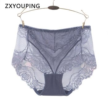 Transparent Sexy Panties Women High Waist Underwear Mesh Lace Stitching Seamless Briefs Ultra Thin Breathable Intimates Lingerie