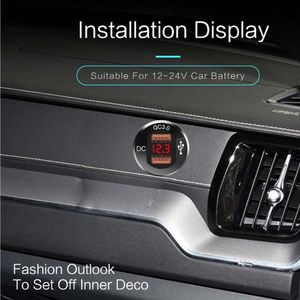 Image 4 - 12 فولت/24 فولت معدن مقاوم للماء المزدوج QC3.0 USB سريع شاحن سيارة مخرج طاقة الفولتميتر