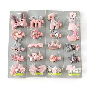 5 pcs princess Bow Hair Clip cute girl baby bow cartoon crown hair clip duckbill clip does not hurt hair accessories for girls