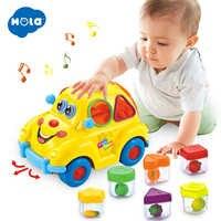 HOLA 516 Musical Auto Spielzeug für Baby 13-24 monate Baby Spielzeug mit Musik & Licht & Puzzle & obst Form Sorter Spielzeug für Kinder Jungen