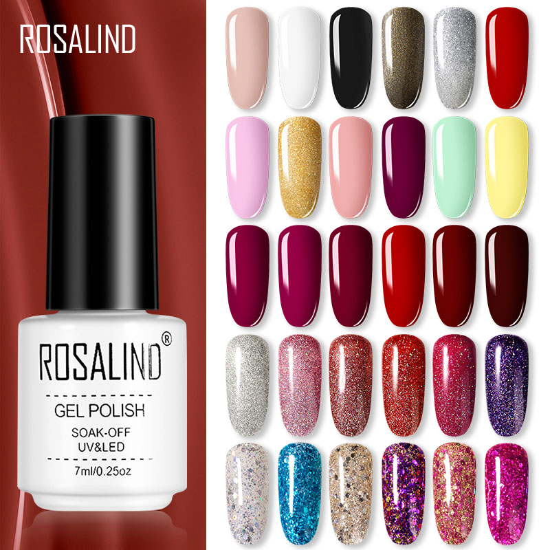 ROSALIND Gel Nail Polish Set 7ML Semi Permanant UV Base Top Coat Hybrid All For Manicure Nails Art Gel Varnishes Polish