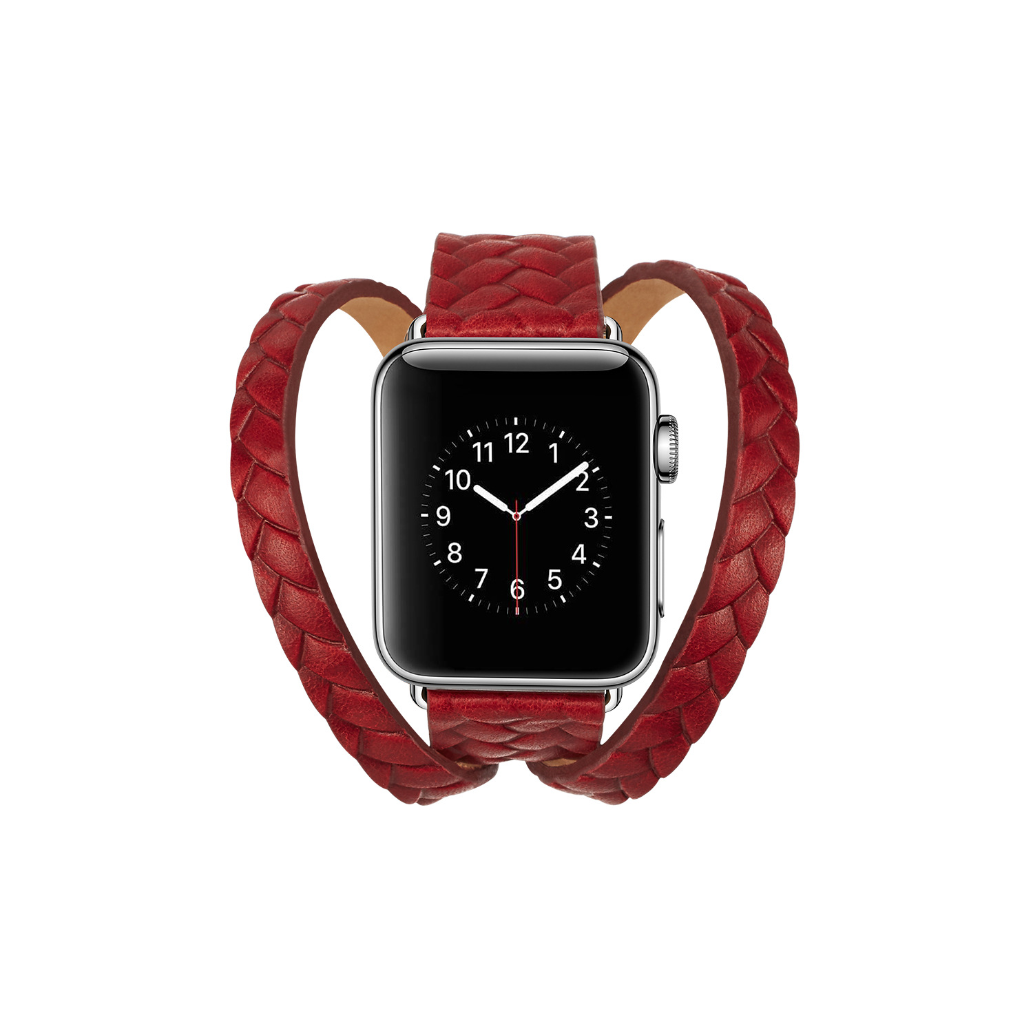 Suitable For Apple APPLE Watch Weaving Embossing Double Coils Long Watch Strap IWatch Natural Leather Watch Band 44 M