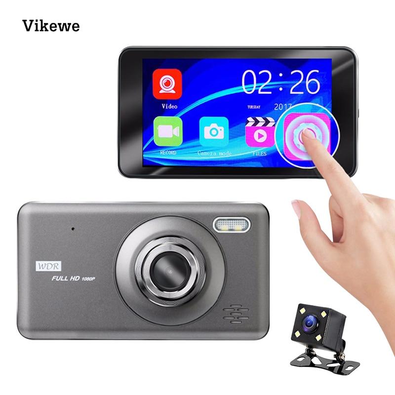 Vikewe carro dvr 4 Polegada toque câmera automática dupla lente traço cam gravador de vídeo fhd 1080 p registrador com câmera de visão traseira dashcam