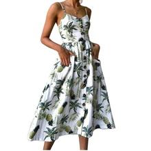 Letnia sukienka damska 2019 nowa Vintage Sexy kwiatowe w stylu boho sukienka w formie tuniki na plażę Sundress czerwono-biała sukienka z kieszeniami w paski kobiece marki tanie tanio WDJUGZ Poliester Elastan Women Dress Przycisk Lato Naturalne Sexy Club -Line Bez rękawów Drukuj Kobiety V-neck Spaghetti pasek