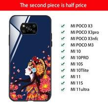 For POCO X3 pro Case .Luxury Cute Beijing Opera Glass Phone Case For xiaomi POCO f3 x3 pro nfc 11 11S 11ultra Mirror Silicone