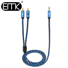 цена на EMK 3.5mm to 2 RCA Splitter AUX Audio RCA Cable Male to Male 2RCA Speaker Cable 1m 2m 3m 5m Braided jacket MP3 2 RCA Audio Cable