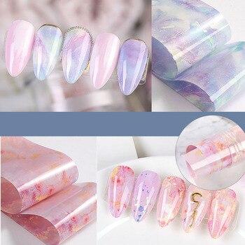 Nuevo diseño de mármol láminas para uñas mariposa cielo estrellado transferencia adhesivo papel adhesivo para la decoración de uñas calcomanías Gel Sliders Rolls